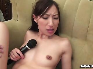 Brunette Asian Skinny Girl Getting Sex Toy Handled