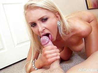 Hot Blondie Alix Gargles With A Big Cock On The Stairs