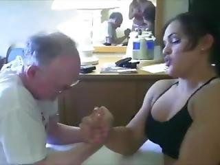 Serena Scorn Vs Old Man In Mixed Armwrestling