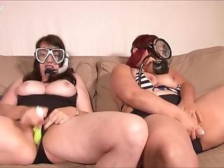 Two Lesbians Masturbating With Snorkel Gear