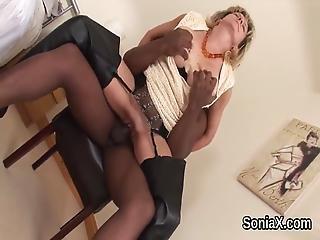 Unfaithful English Mature Lady Sonia Flashes Her Big Hooters