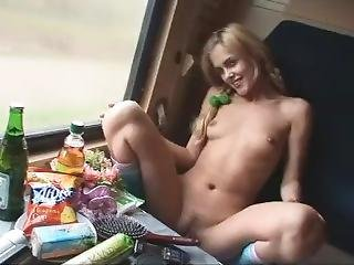Drunk Ukrainian Nymphet In The Russian Train. Real Private Video!