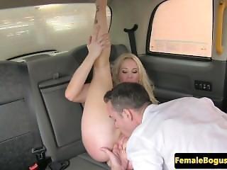 Busty British Cabbie Cocksucks On Backseat