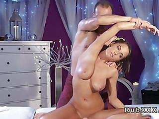 Tanned Busty Teen Rides Masseurs Dick