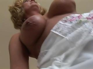 Busty Mature Blonde Babe In Sheer Lingerie Teasing And Spreading