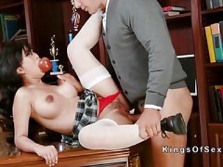 Asian Teen Schoolgirl Bangs Big Cock Dad