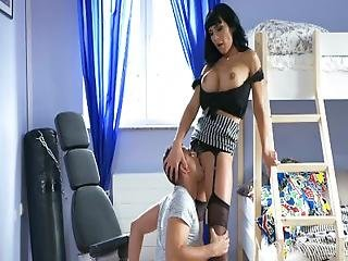 Mom Horny Dominant And Bossy Stepmom In Suspenders Fucks Naughty Young Lad