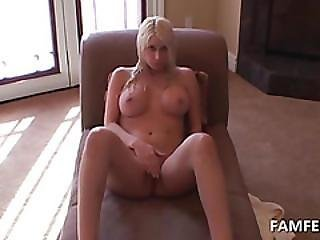 Chesty Blonde Gets Off The Shower And Self Fucks