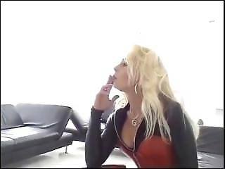 Dom Vanessa Smoking In Killer Leather Outfit