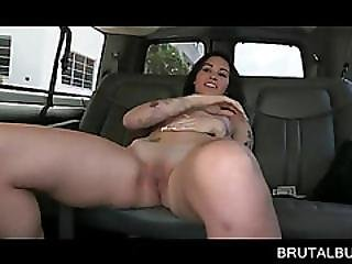 Tattooed Brunette Cunt Licked In The Sex Bus
