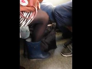 Rubber Boots And Black Shiny Pantyhose