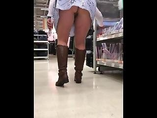 Upskirt Of My Exhibitionist Wife Shopping With No Panties