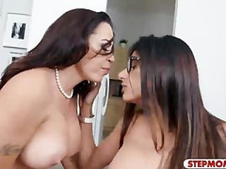 Two Arab Women Sharing On Lucky Man Meat On The Couch