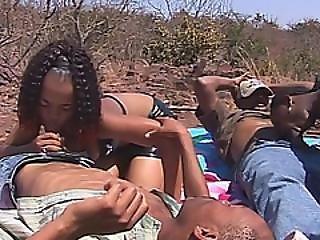 African Teens Sucking On Stiff Cocks Outdoors