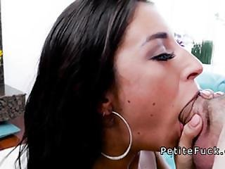 Petite Brunette Deep Throats Monster Cock
