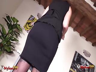 Horny Secretary Monique86 Has Stockings On Today: She Masturbates Right There In Office, Till She Squirts Like A River On Your Office Desk