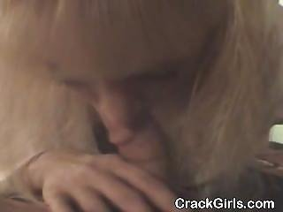 Dirty Blonde Crack Whore Giving Up Close Blowjob