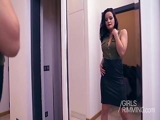 anal, schön, schwarz, blasen, ladung, puppe, lecken, rimjob, sexy, schlucken, dreier