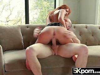 5kporn - Slutty Redhead Schoolgirl Scarlett Mae Throatfucked And Creampied
