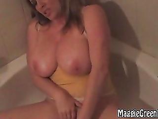 Busty Blonde Maggie Green Masturbates In Tub