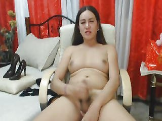 Lustful Ladyboy Strokes Her Dong In Joy Until Spunk Flow