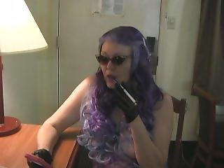 Jeanie Rose In Purple Holder Smoking Vs 120 Menthol (different Angle)