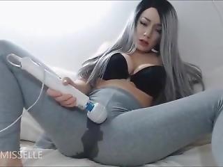 Girl At Grey Laggings Vibration Dildo Solo Masturbating On Bed