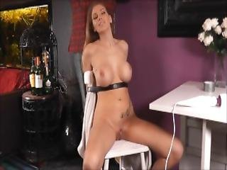 Bondage Big Tits Lover Playing Masturbation On A Chair