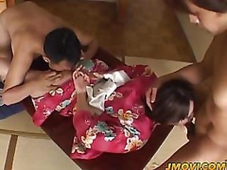 Japanese Milf Arousing Babe In Kimono Enjoys Two Cocks In Double Blowjob