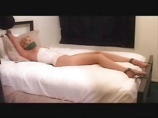Blonde Sadie Is Bedtied And Spreadeglead In Pantyhose (vintage)