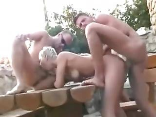 Blondine, Blasen, Ladung, Gangbang, Sexy
