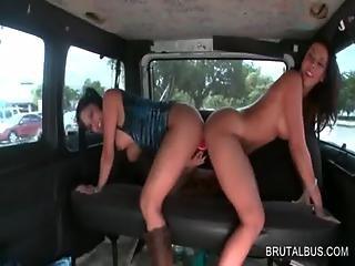 Dirty Sluts Sharing Dildo In Bus