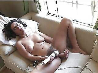 Natural Hairy Girl Masturbates With Her Sex Toys