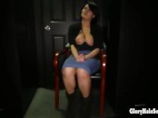 Curvy Latina in Gloryhole booth swallows