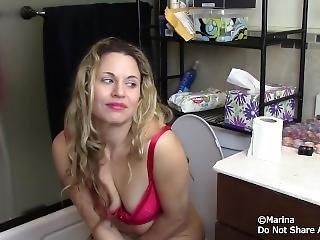Girl On The Toilet Enema