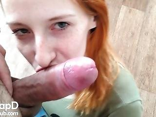 Russian Redhead Amateur Make A Blowjob With Cock Licking - Pov
