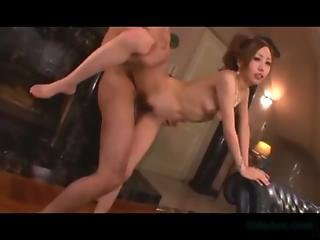 Asian Girl With Small Tits Fucked By 2 Guys Facial On The Couch In The Lounge