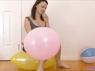 Giant Balloon Popping With Nails And Sitting On. Fetish Clip