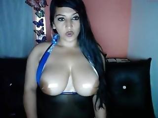 amateur, chick, dikke tiet, latina, sexy, webcam