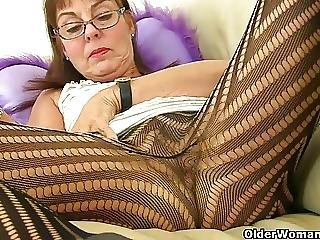Ass, British, Fingering, Granny, Mature, Milf, Stocking