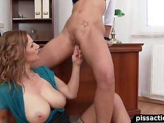 Office Assistant Loves Pissing On Her Boss