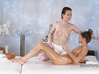 Skinny Brunette Babe Licks Her Masseuse