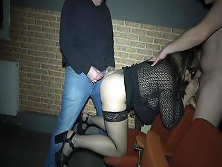 Late Night Breeding Gangbang At The Adult Theater