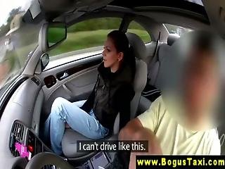 Pickedup euro jerking cock during car sex