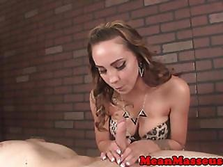 Lingerie Masseuse Dominating With Handjob