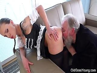 Old Goes Young - Slim Teen In Lacy Stockings Jumps