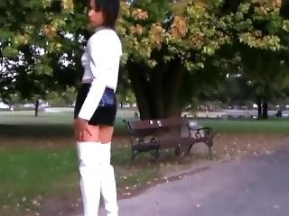 Bitch In Tight Leather Miniskirt & Boots Exposes Her Ass & Legs In Public !