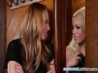 Queening Lesbo Squirts Over Her Sappho Lover