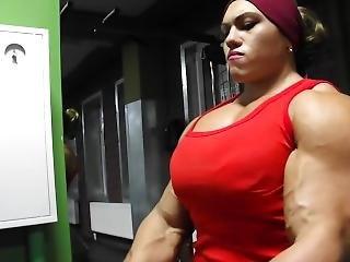 chick, dikke tiet, fetish, publiek, russisch, trainen, werkplaats