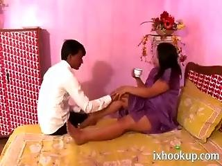 Hot Busty Indian Aunty Try To Seduce Her Serv